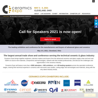 Ceramics Expo 2021 Conference Trade Show Event & Exhibition - HOME