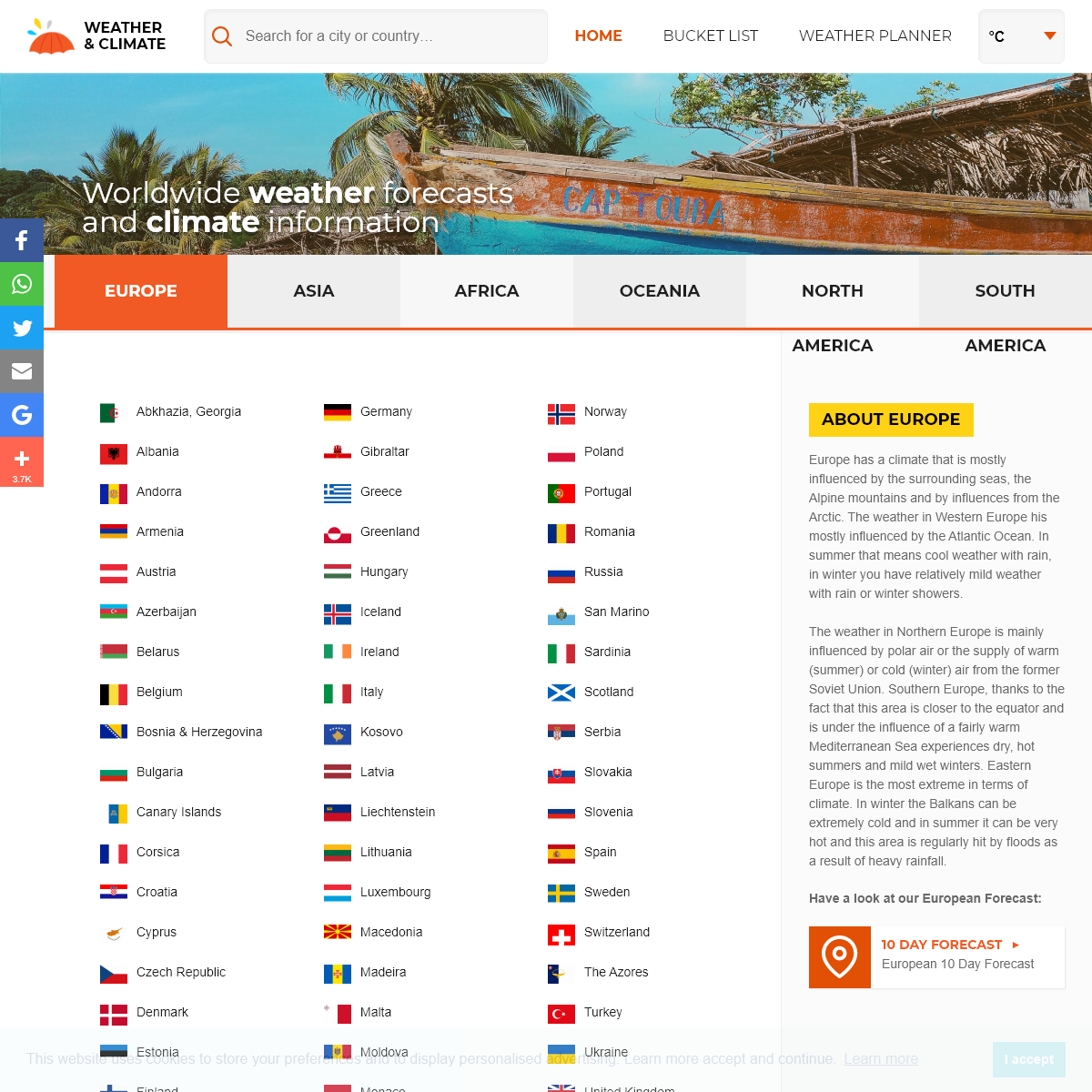 Weather and Climate information for every country in the world.