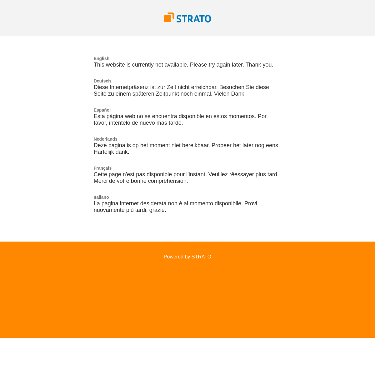 STRATO - Domain not available