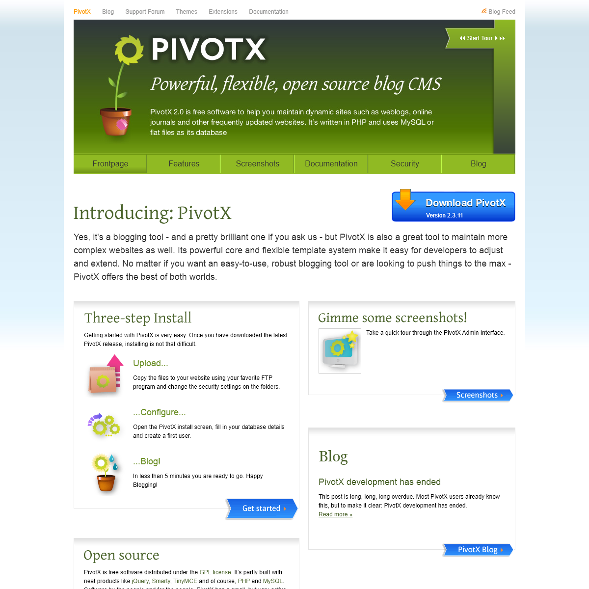 PivotX - The Powerful Open Source Blog CMS