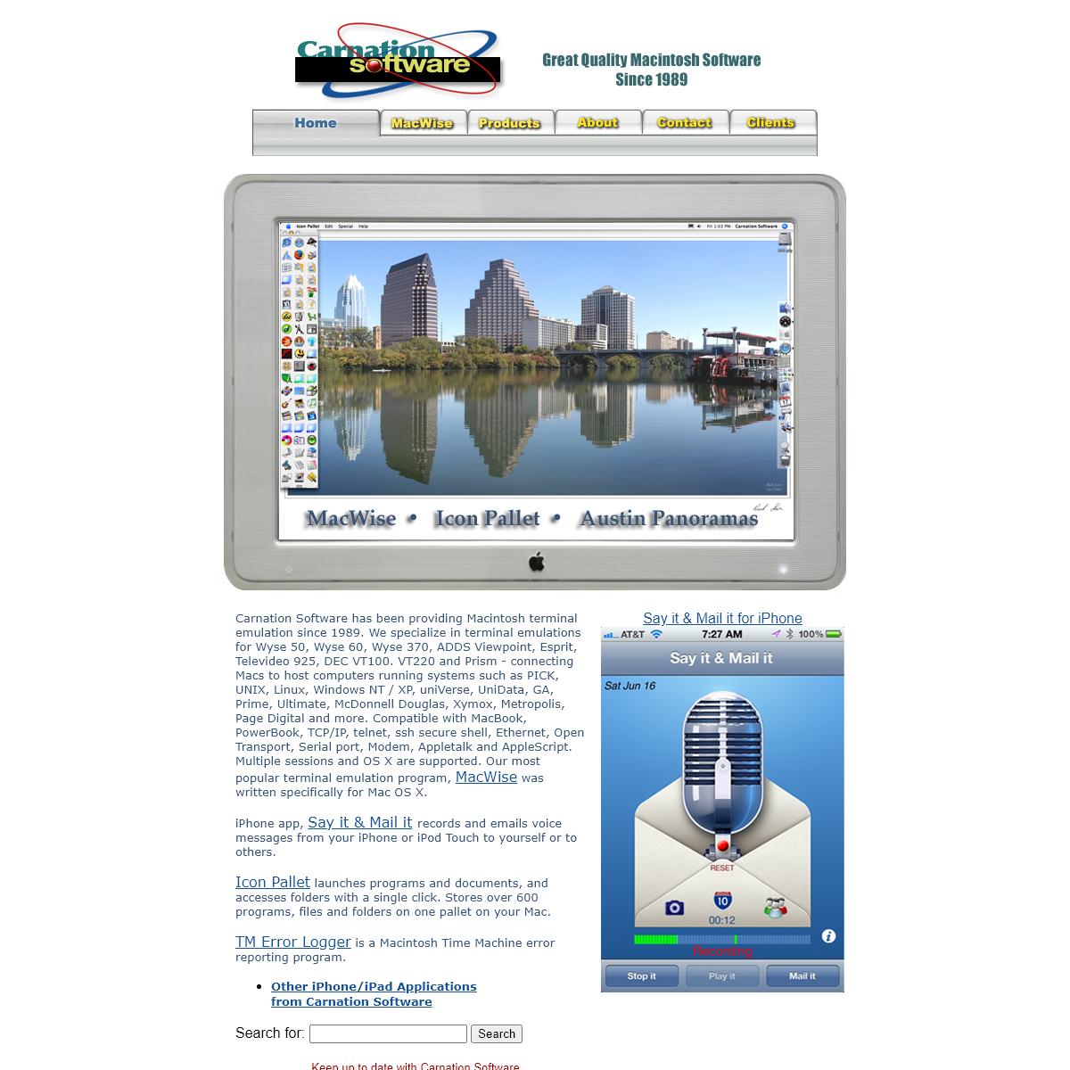 Carnation Software - Macintosh Terminal Emulation - MacWise telnet - serial