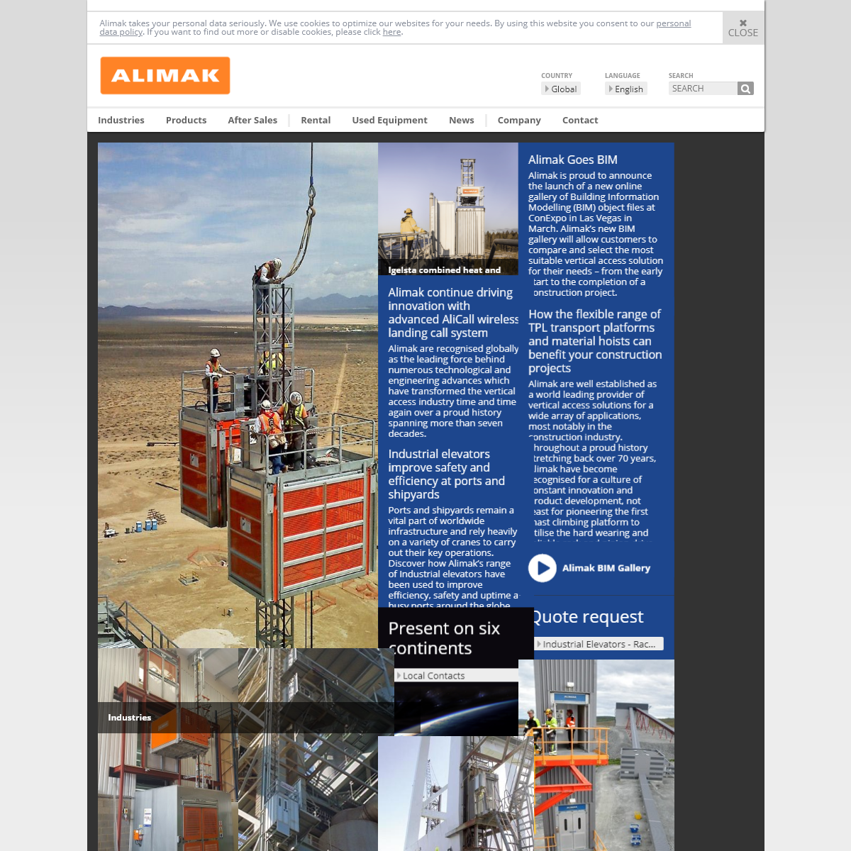 Rack and Pinion Elevators, lifts, hoists and platforms for vertical access