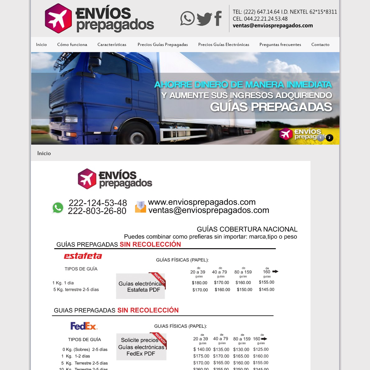 ENVÍOS PREPAGADOS Guías Prepagadas Estafeta FedEx DHL Redpack UPS