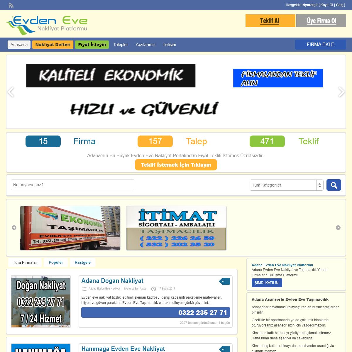 Adana Evden Eve Nakliyat ve Taşıma Firmaları