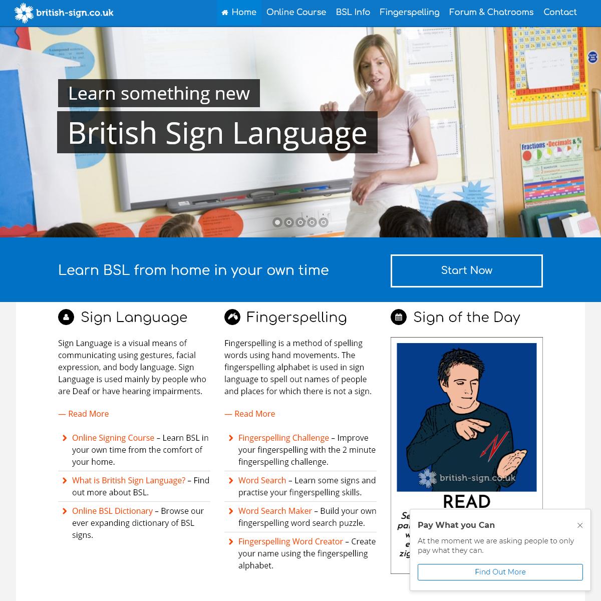 British Sign Language - Online resources, games, & course.