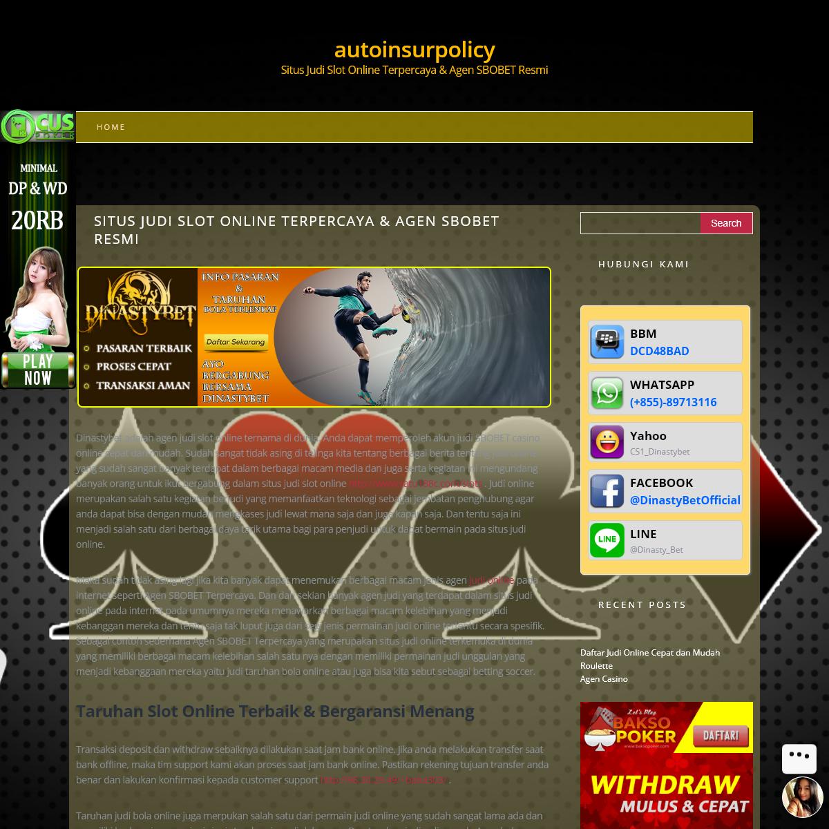 autoinsurpolicy – Situs Judi Slot Online Terpercaya & Agen SBOBET Resmi