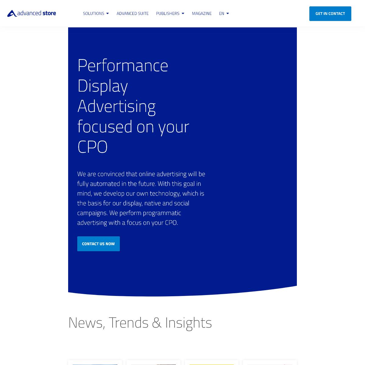 Homepage - advanced store