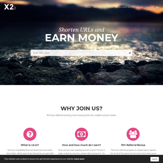 x2.to - shorten URLs and earn money