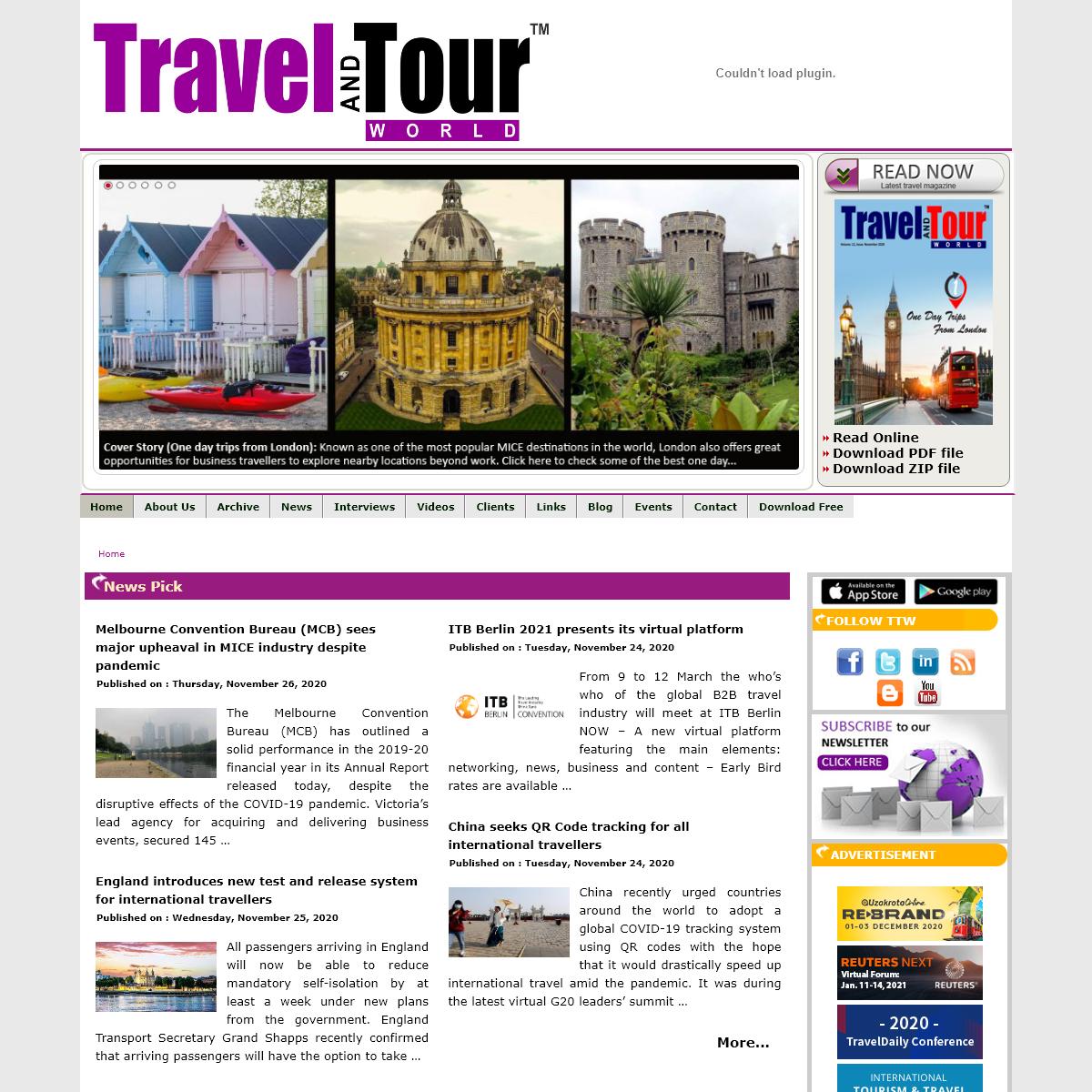 Find Latest Global Travel News, Travel Trends, Top World Travel News, Tourism News, Travel B2B and B2C Online Magazine, Current