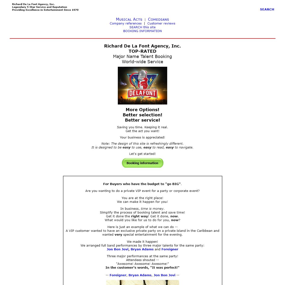 RICHARD DE LA FONT AGENCY - Top-Rated Corporate Event Booking Agent