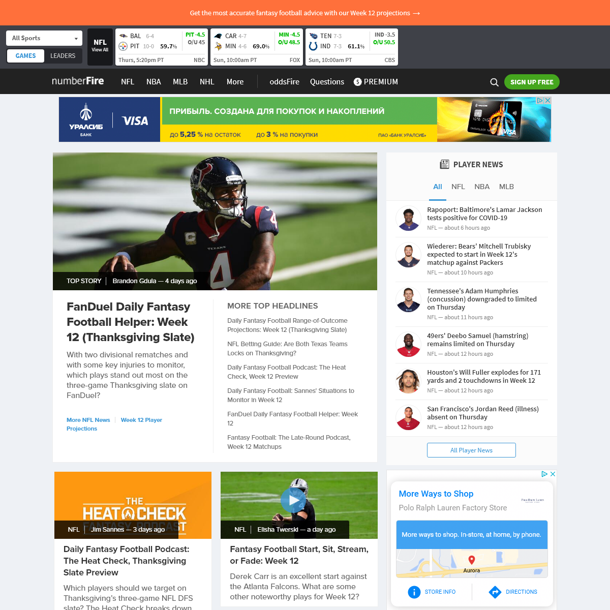 numberFire - Best Projections & Rankings for Daily Fantasy Sports