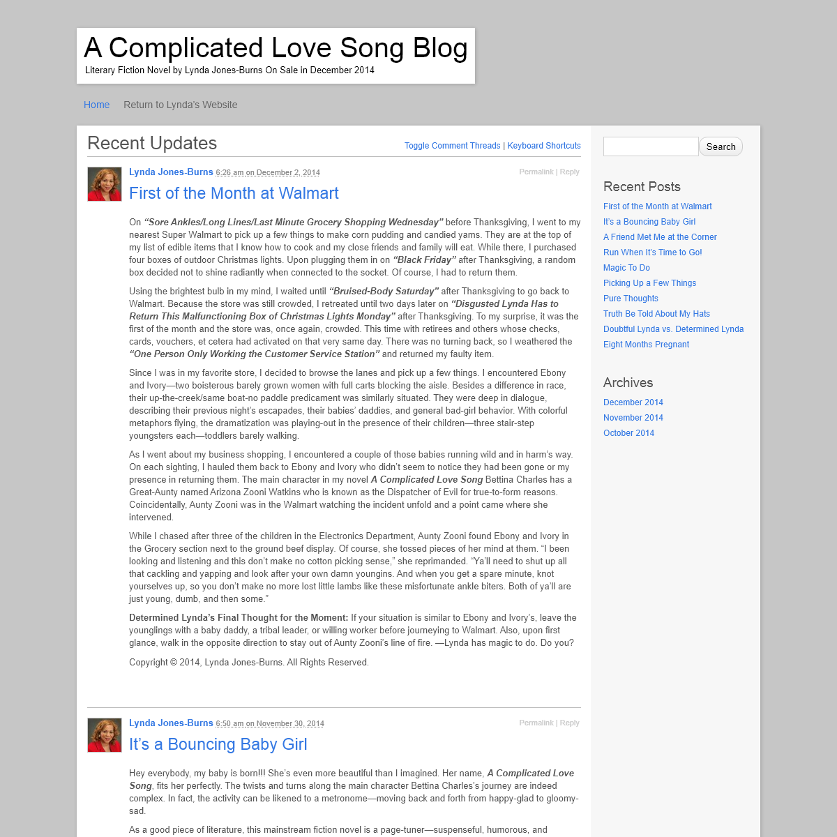 A Complicated Love Song Blog - Literary Fiction Novel by Lynda Jones-Burns On Sale in December 2014