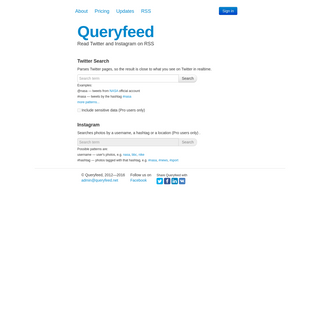 Queryfeed - Twitter and Instagram on RSS