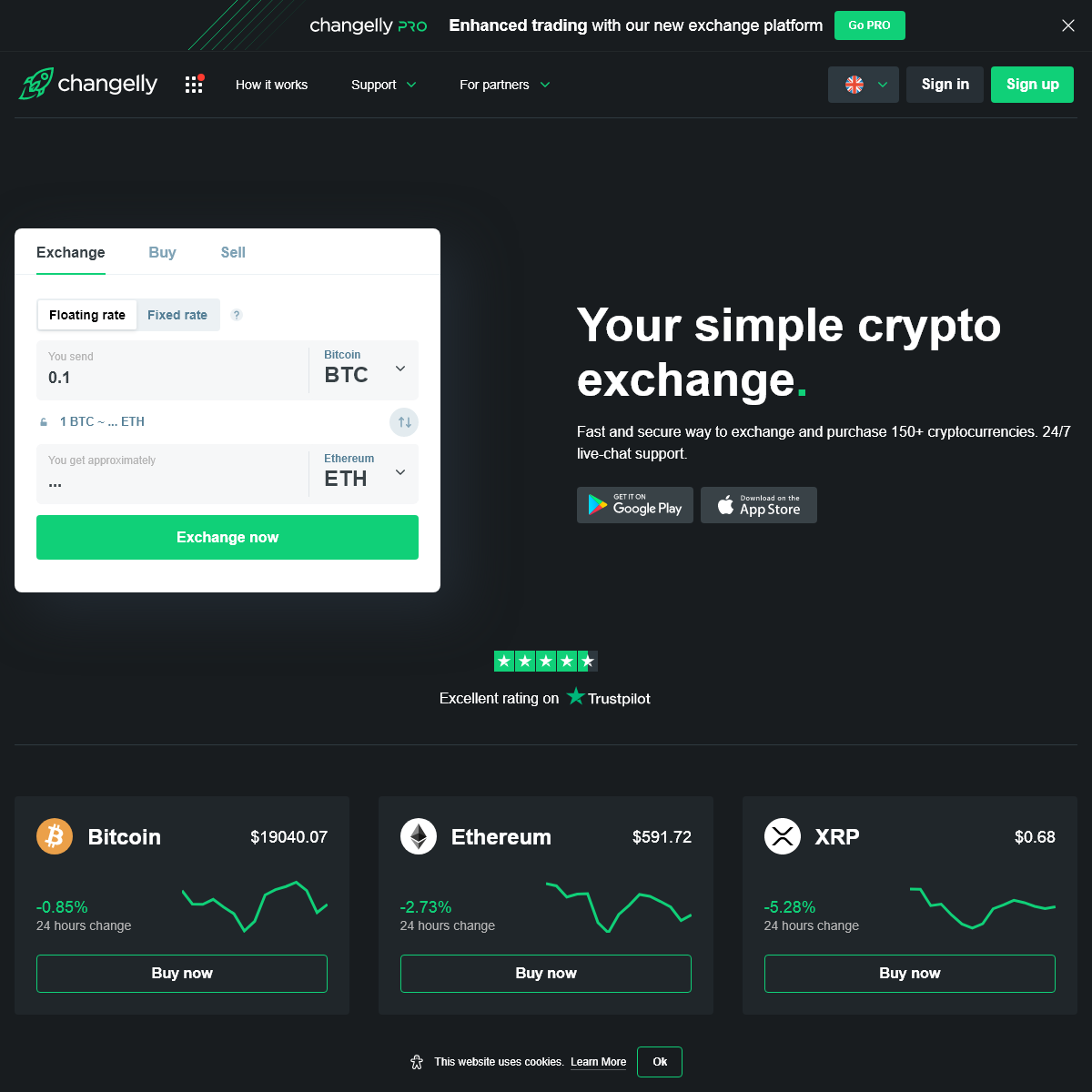 Exchange crypto online — Cryptocurrency exchange platform Changelly