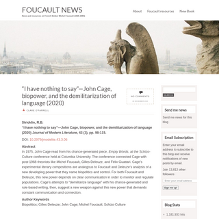 Foucault News - News and resources on French thinker Michel Foucault (1926-1984)