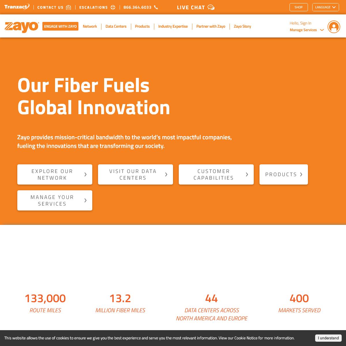Our Fiber Fuels Global Innovation - Home - Zayo