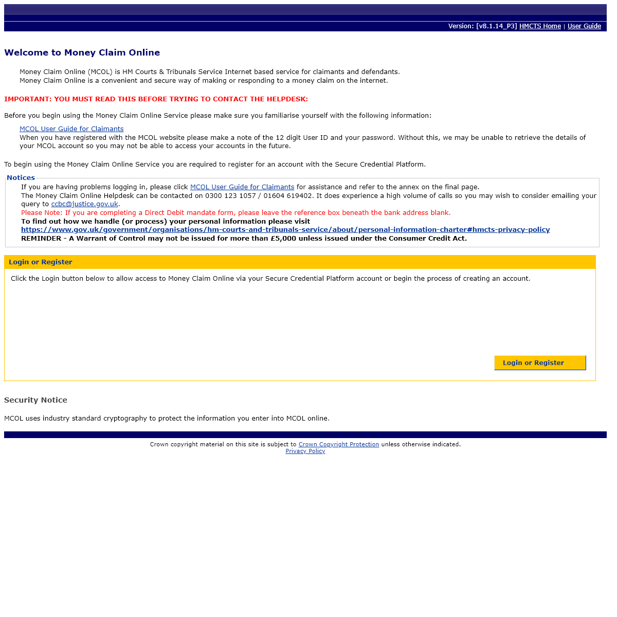 MCOL - Money Claim Online - Welcome