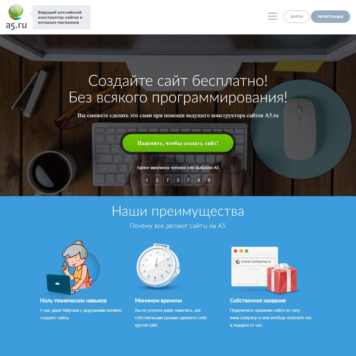 Создать сайт бесплатно самому с нуля на конструкторе сайтов A5.ru
