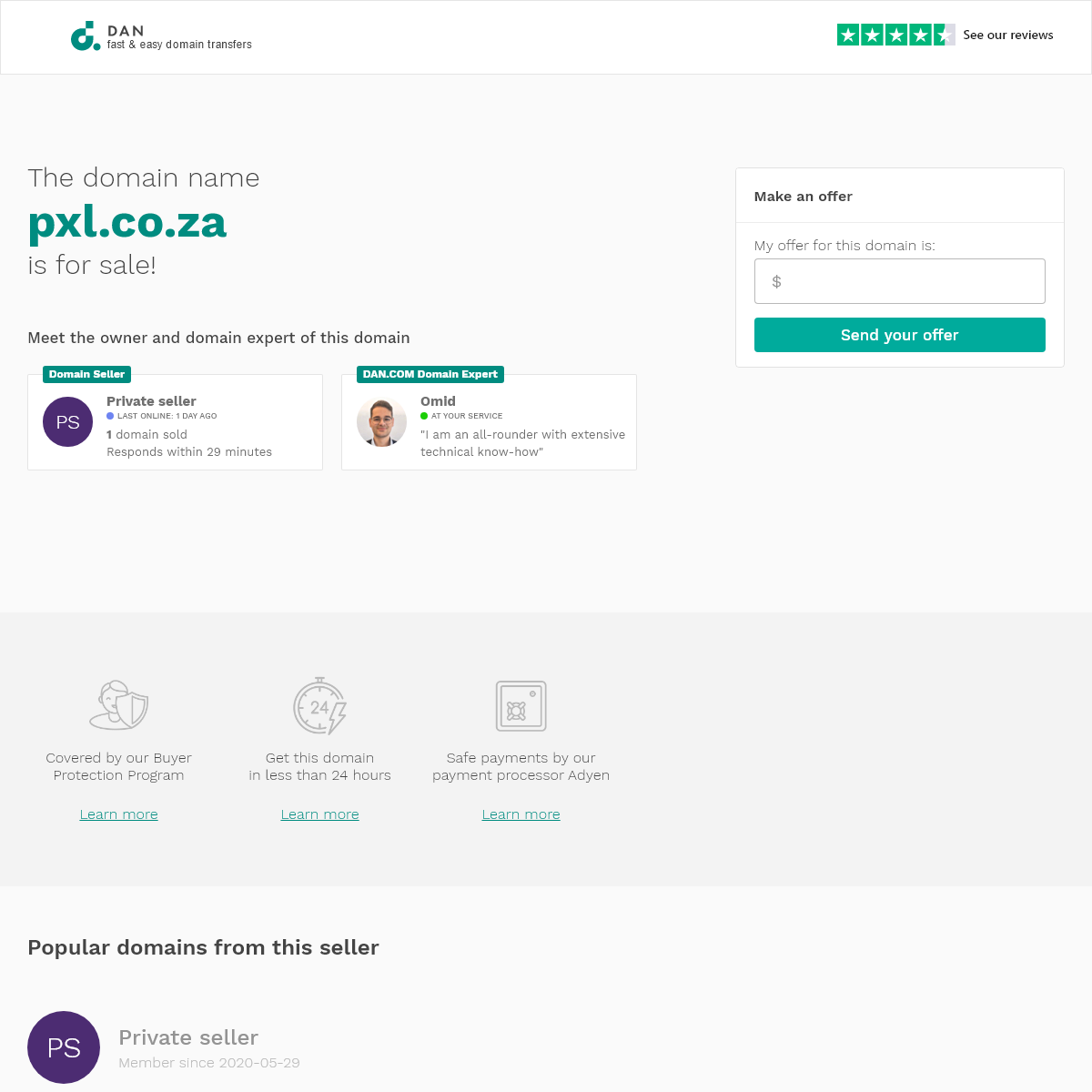 The domain name pxl.co.za is for sale
