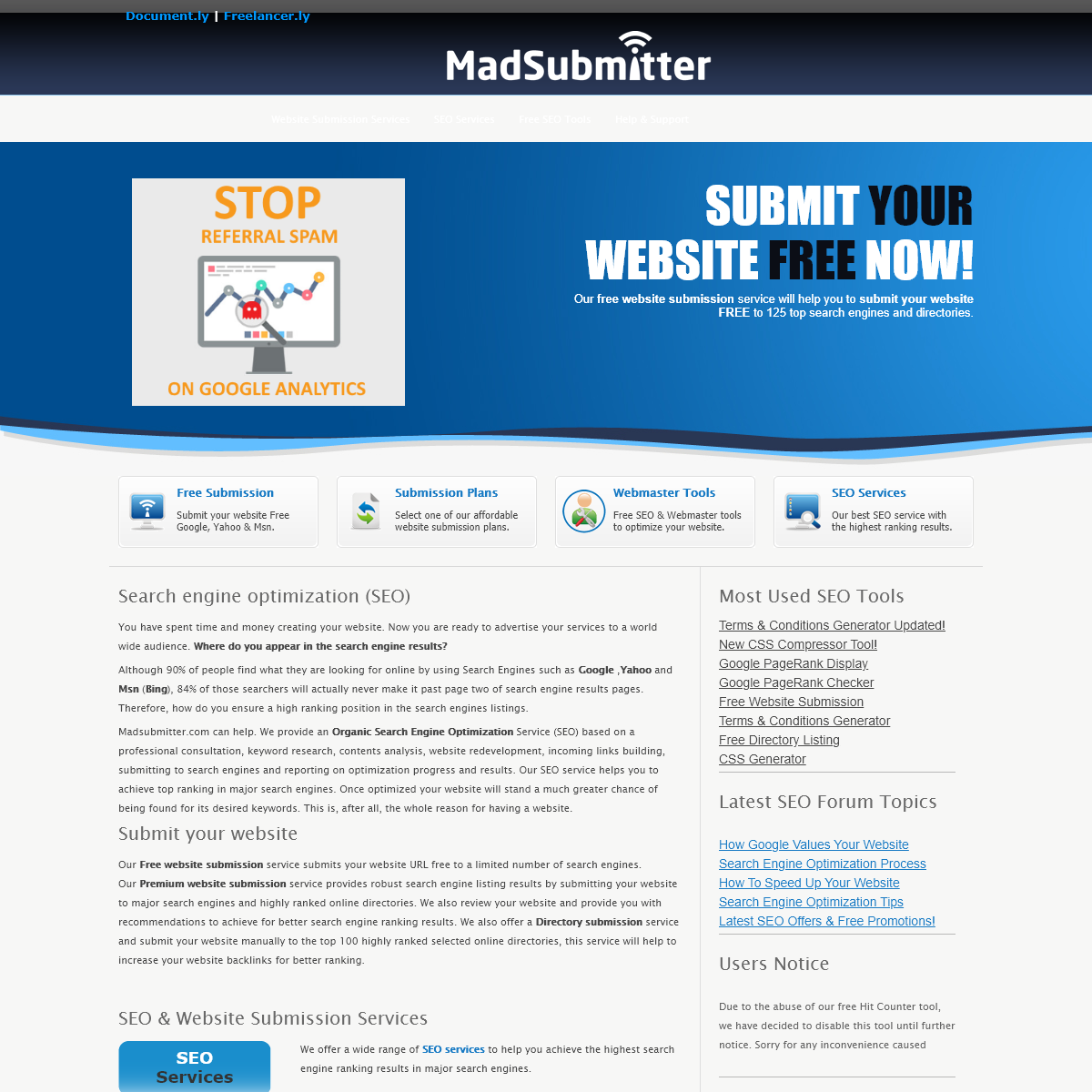 Submit Your Website Free to Search Engines - Search Engine Optimization