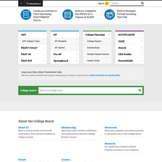 College Board - SAT, AP, College Search and Admission Tools