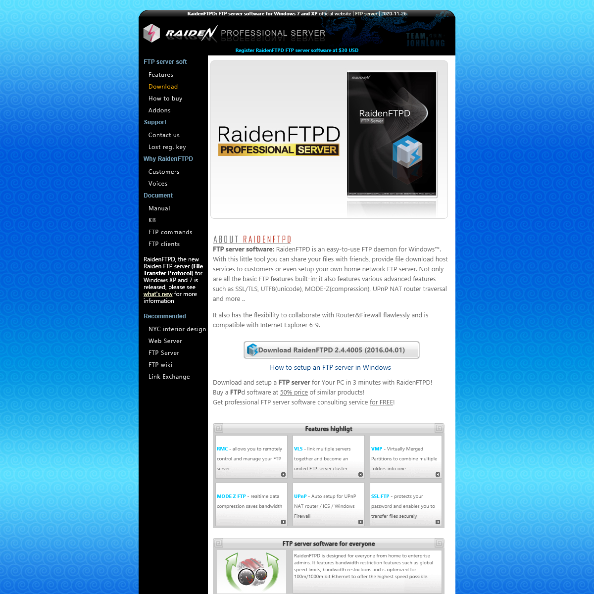 RaidenFTPD- FTP server software for Windows 7 and XP