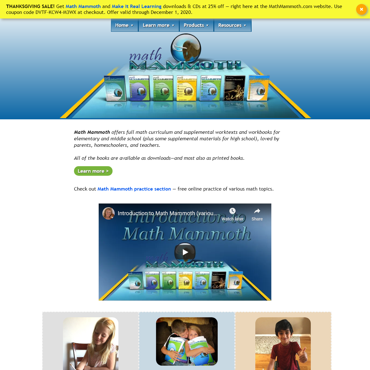 Math Mammoth - affordable, quality math worktexts and workbooks