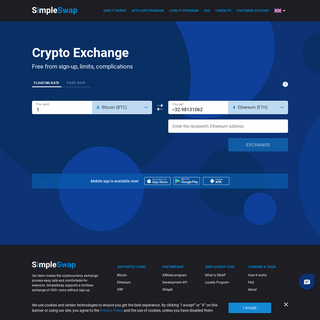 SimpleSwap - Cryptocurrency Exchange - Easy way to swap BTC to ETH, XRP, LTC, EOS, XLM