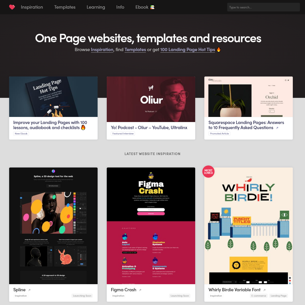 One Page Love - One Page Website Inspiration and Templates
