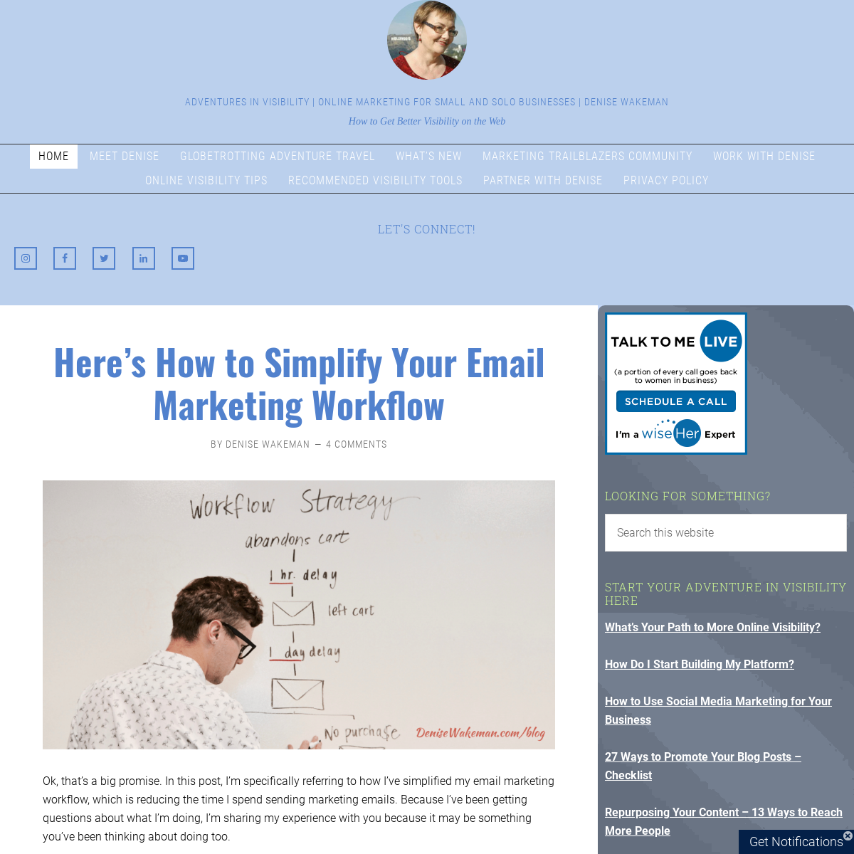 Adventures In Visibility - Online Marketing for Small and Solo Businesses - Denise Wakeman - How to Get Better Visibility on the