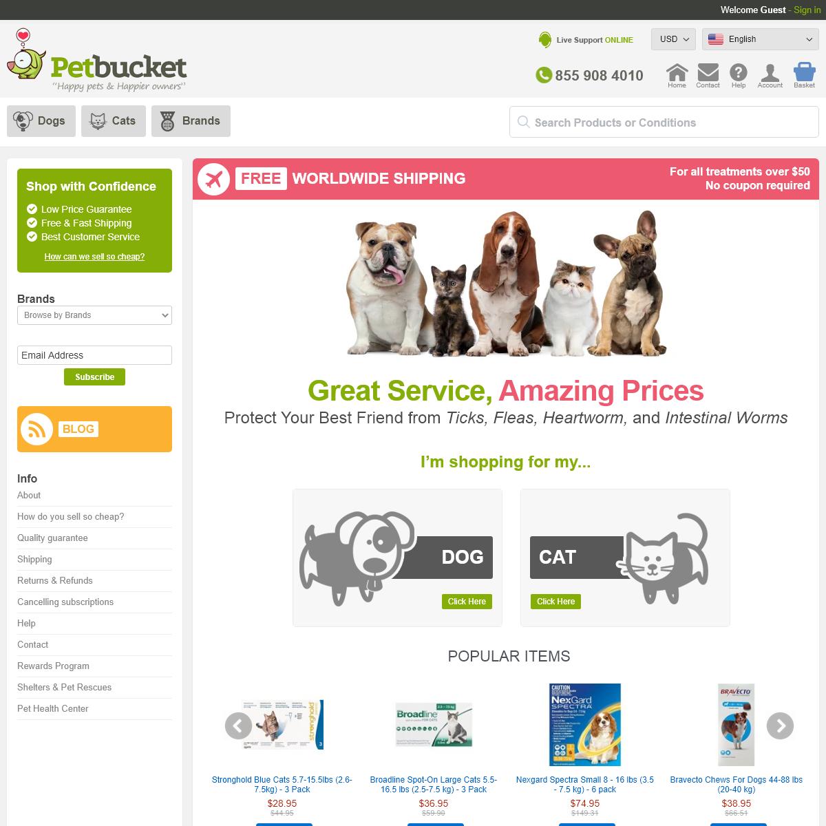 Cheap flea, tick treatments, heart & intestinal worming for dogs & cats - PetBucket
