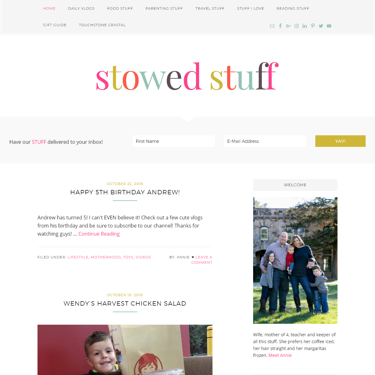 Stowed Stuff Blog and Vlogs