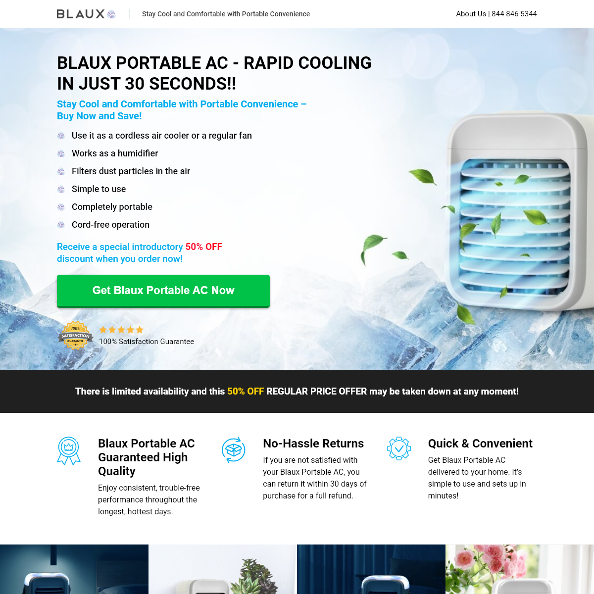 Blaux Portable AC - RAPID COOLING IN JUST 30 SECONDS PORTABLE AIR CONDITIONER