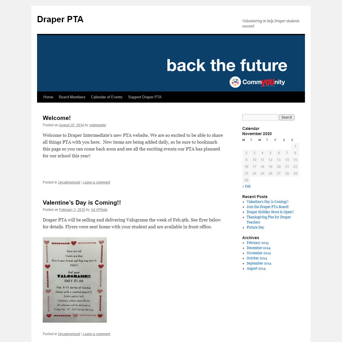 Draper PTA - Volunteering to help Draper students succeed