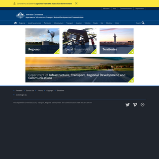 Regional, Territories and Local Government- The Department of Infrastructure, Transport, Regional Development and Communications
