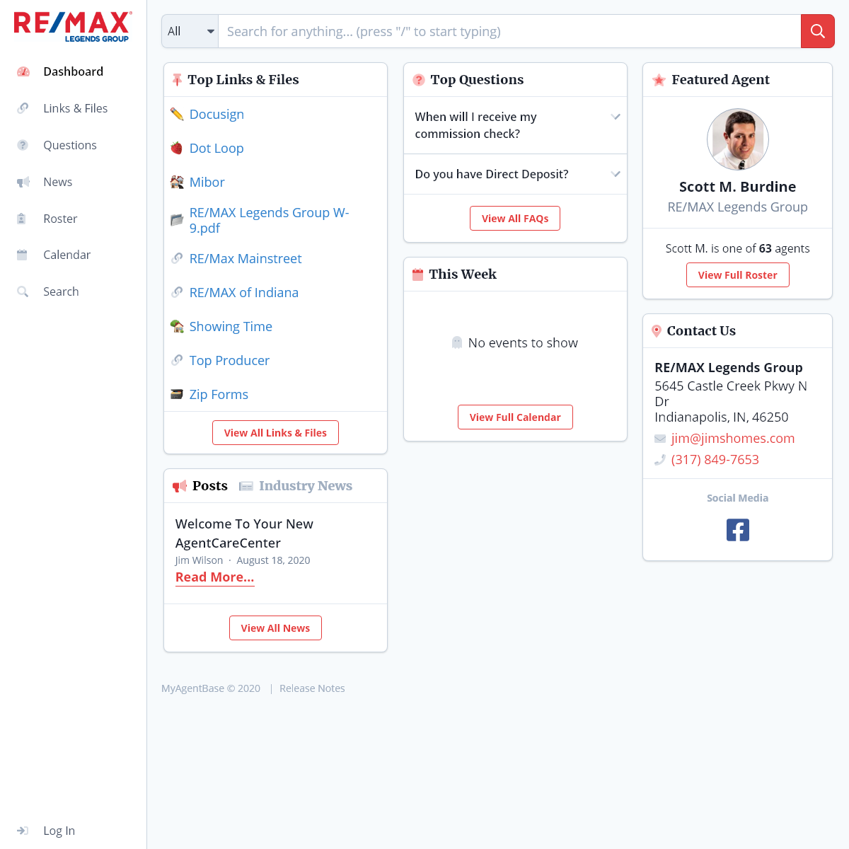 RE-MAX Legends Group · Dashboard