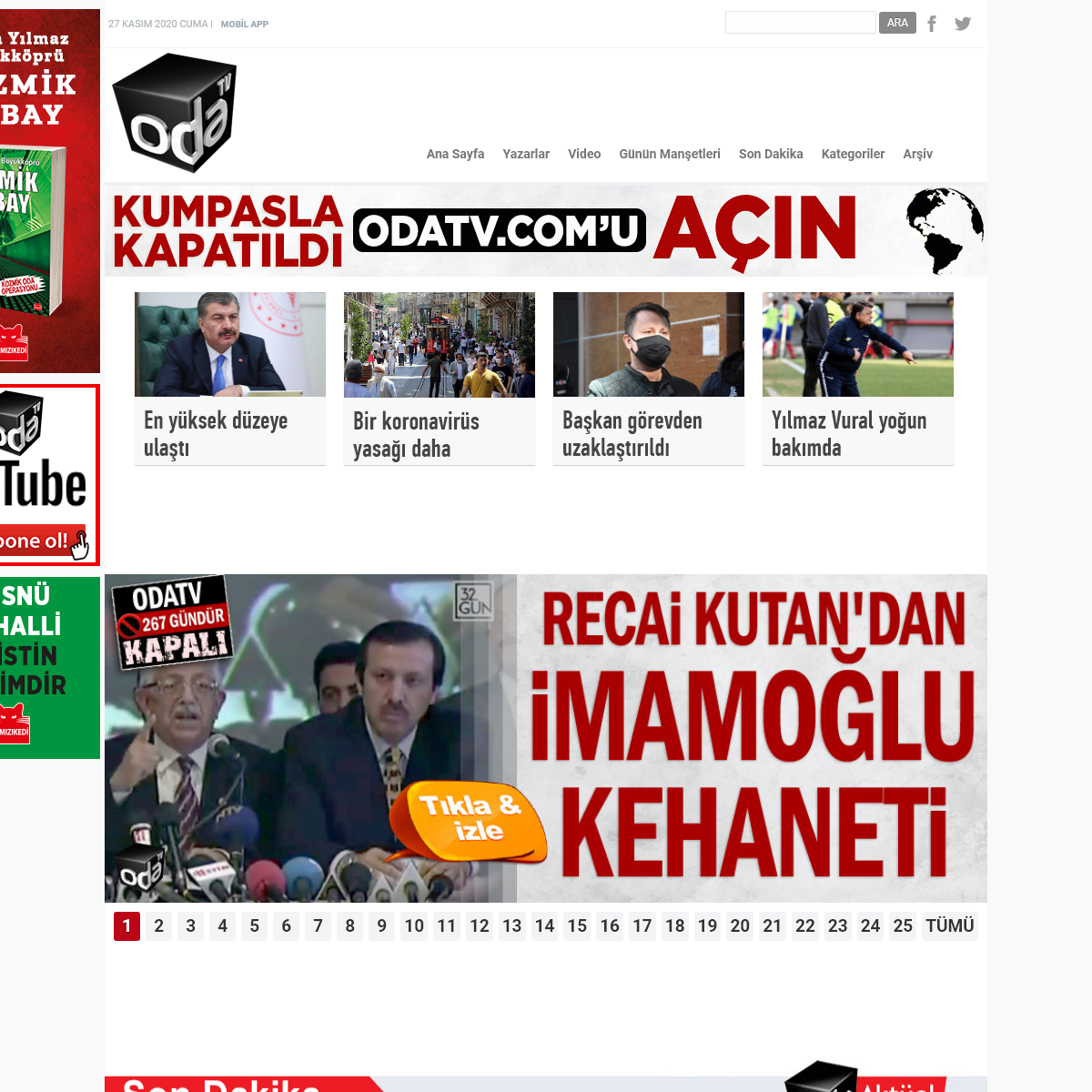 Haber Sitesi ODATV son dakika haberler gazete manşet
