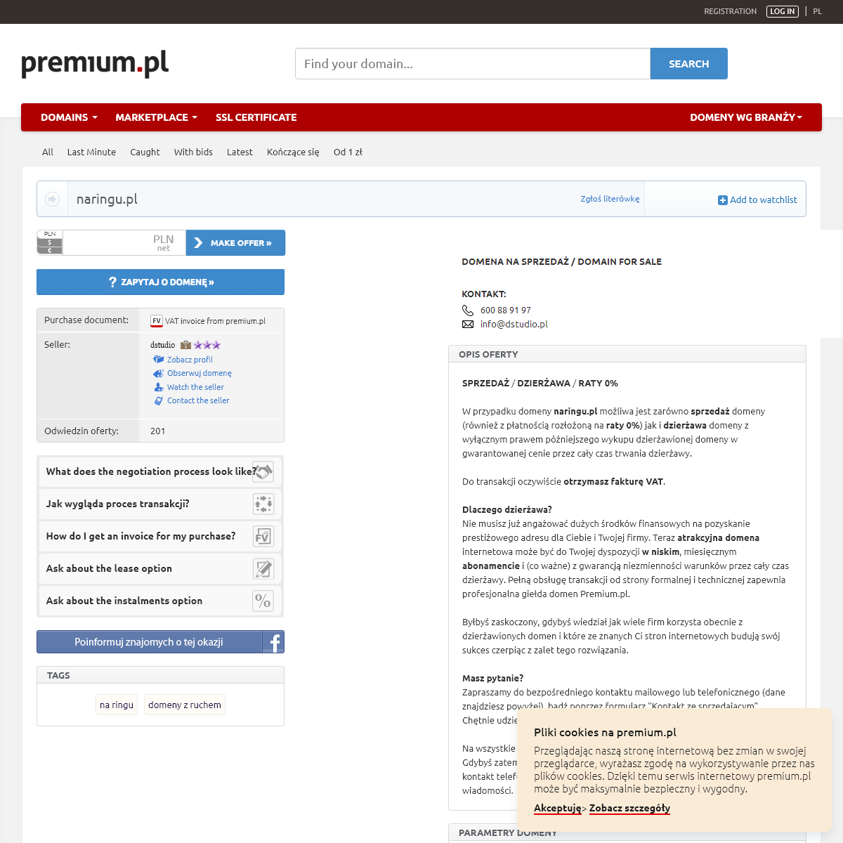 Oferta sprzedaży domeny naringu.pl (na ringu)