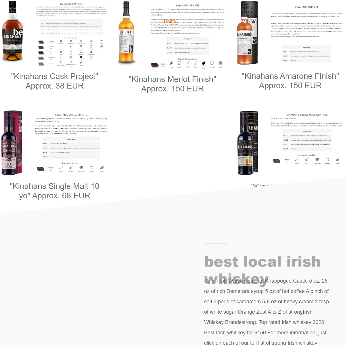 Top Irish Whiskey. Best Top Shelf Irish Whiskey Prices.