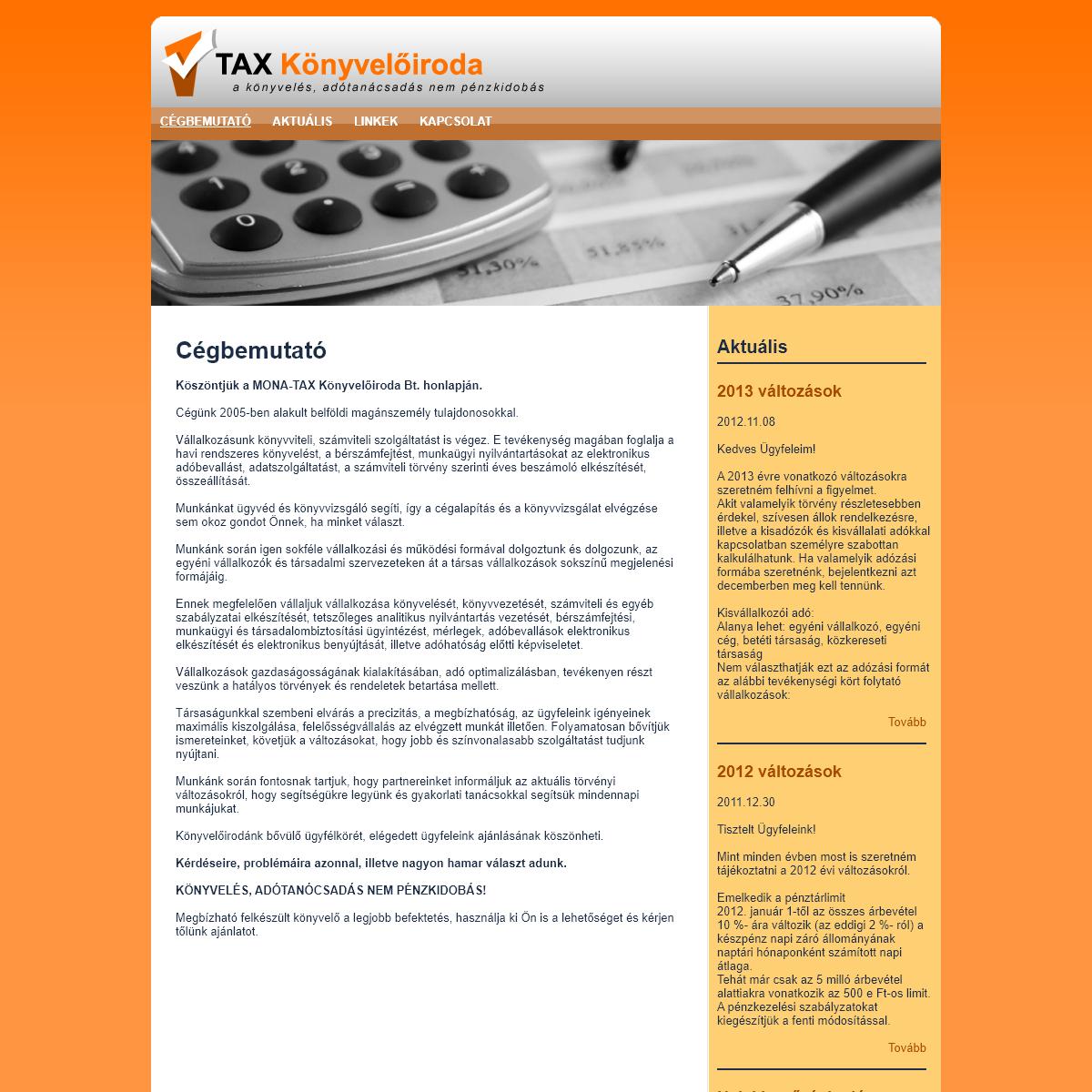 Mona-Tax Bt. -- Cégbemutató