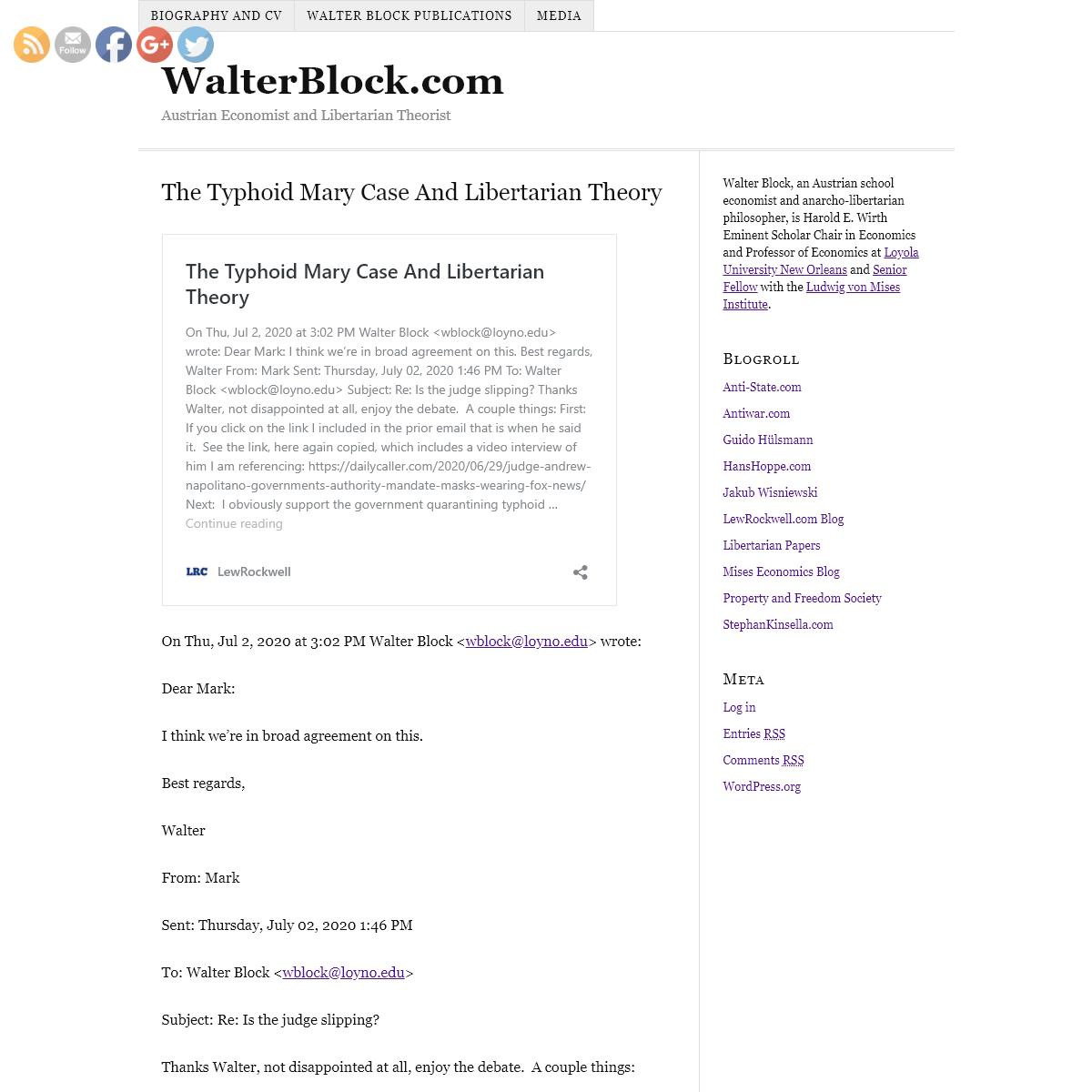 WalterBlock.com — Austrian Economist and Libertarian Theorist