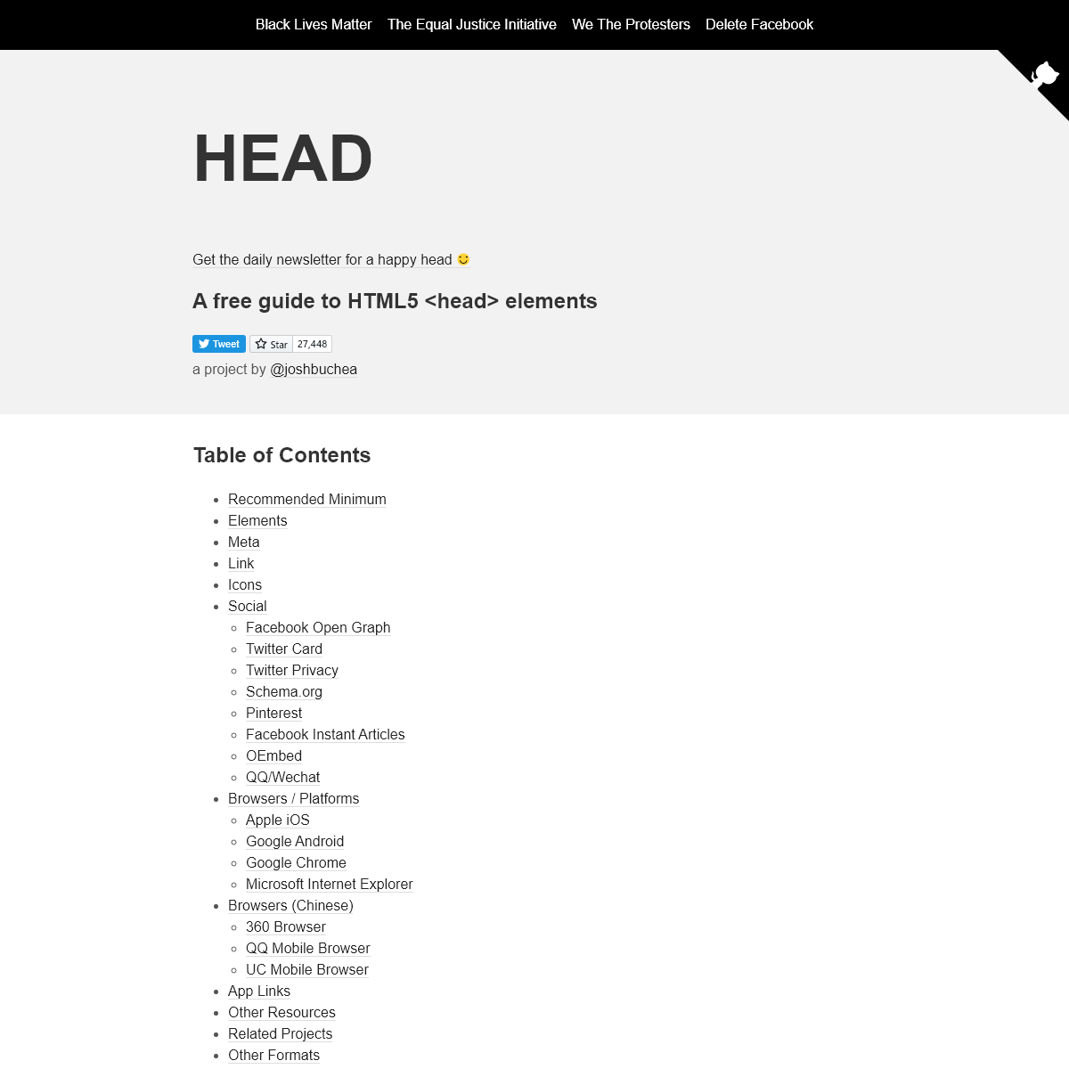 HEAD - A free guide to -head- elements
