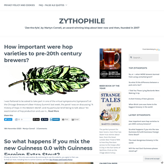 Zythophile – `Zee-tho-fyle`, by Martyn Cornell, an award-winning blog about beer now and then, founded in 2007