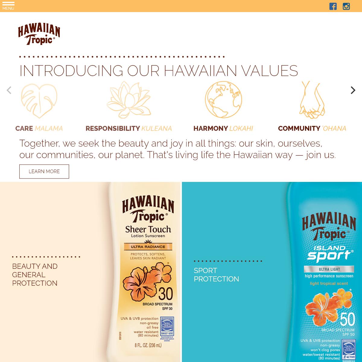 Sun Tan Lotions and Sunscreen - Hawaiian Tropic