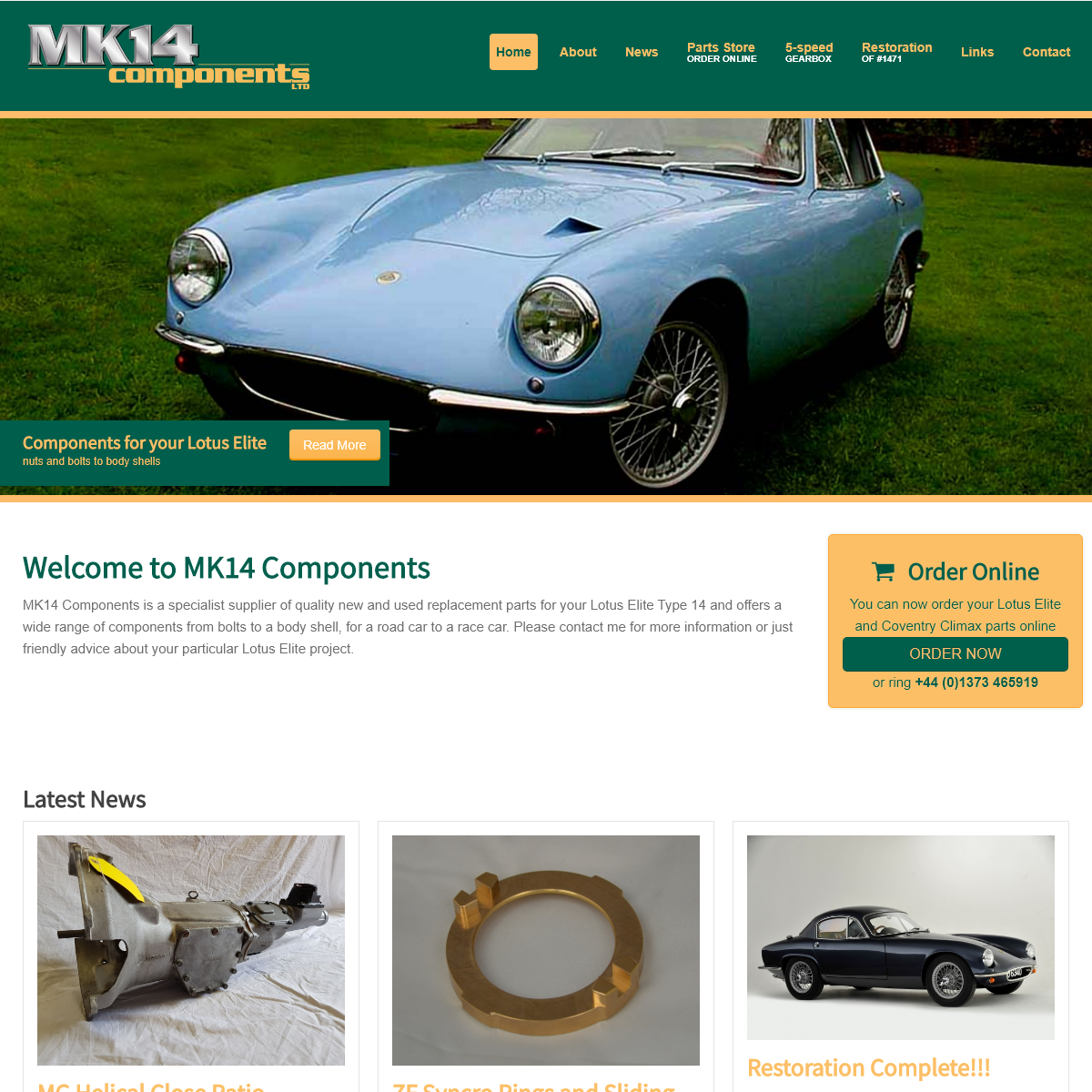 MK14 Components - Mk 14 Components- specialist parts supplier for the Lotus Elite Type 14 and the Coventry Climax FWA, FWB and F