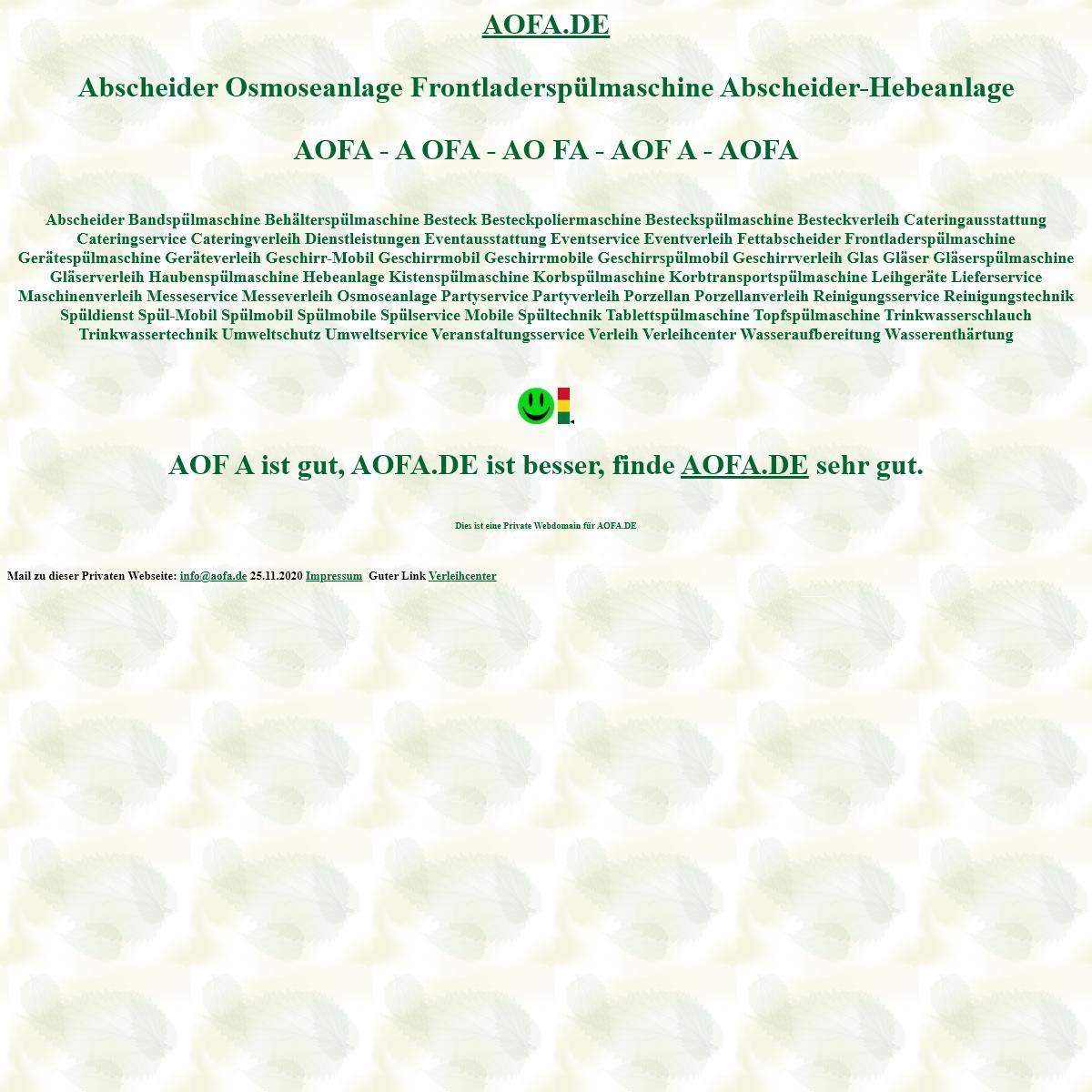 aofa Abscheider Osmoseanlage Frontladerspülmaschine Abscheider-Hebeanlage Spülmobil Verleih Geschirrmobil Mieten