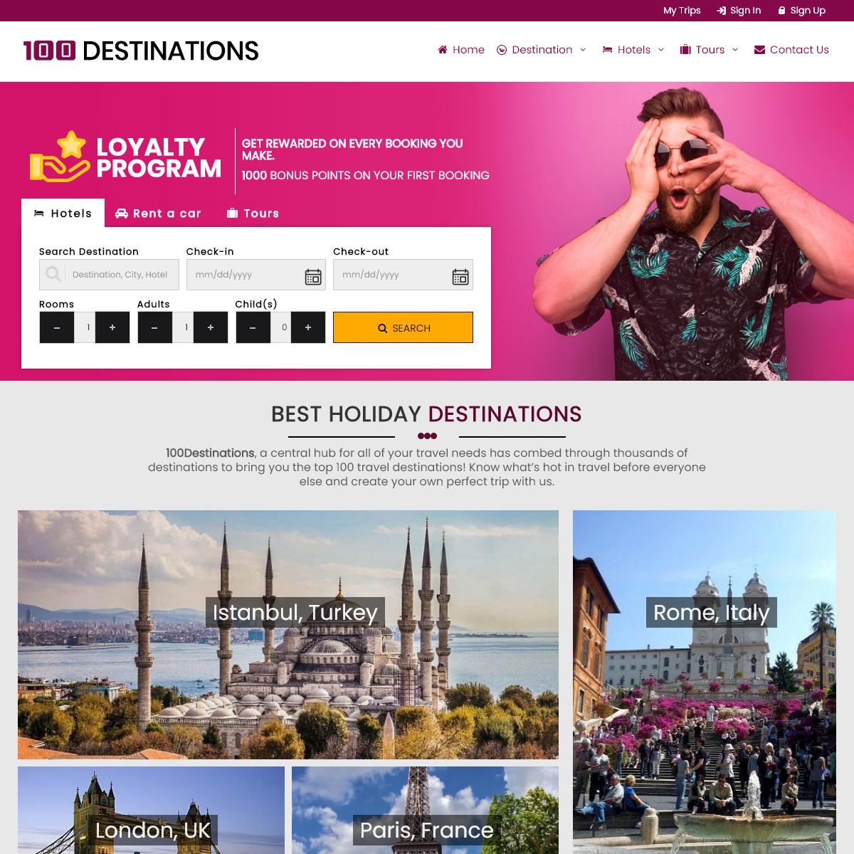 100Destinations.com - Book Hotels, Car Rental, Tours