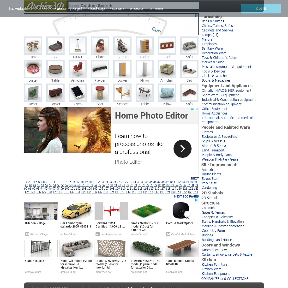 Free 3D Models and Objects Archive. Download- 3ds , obj , gsm , max models