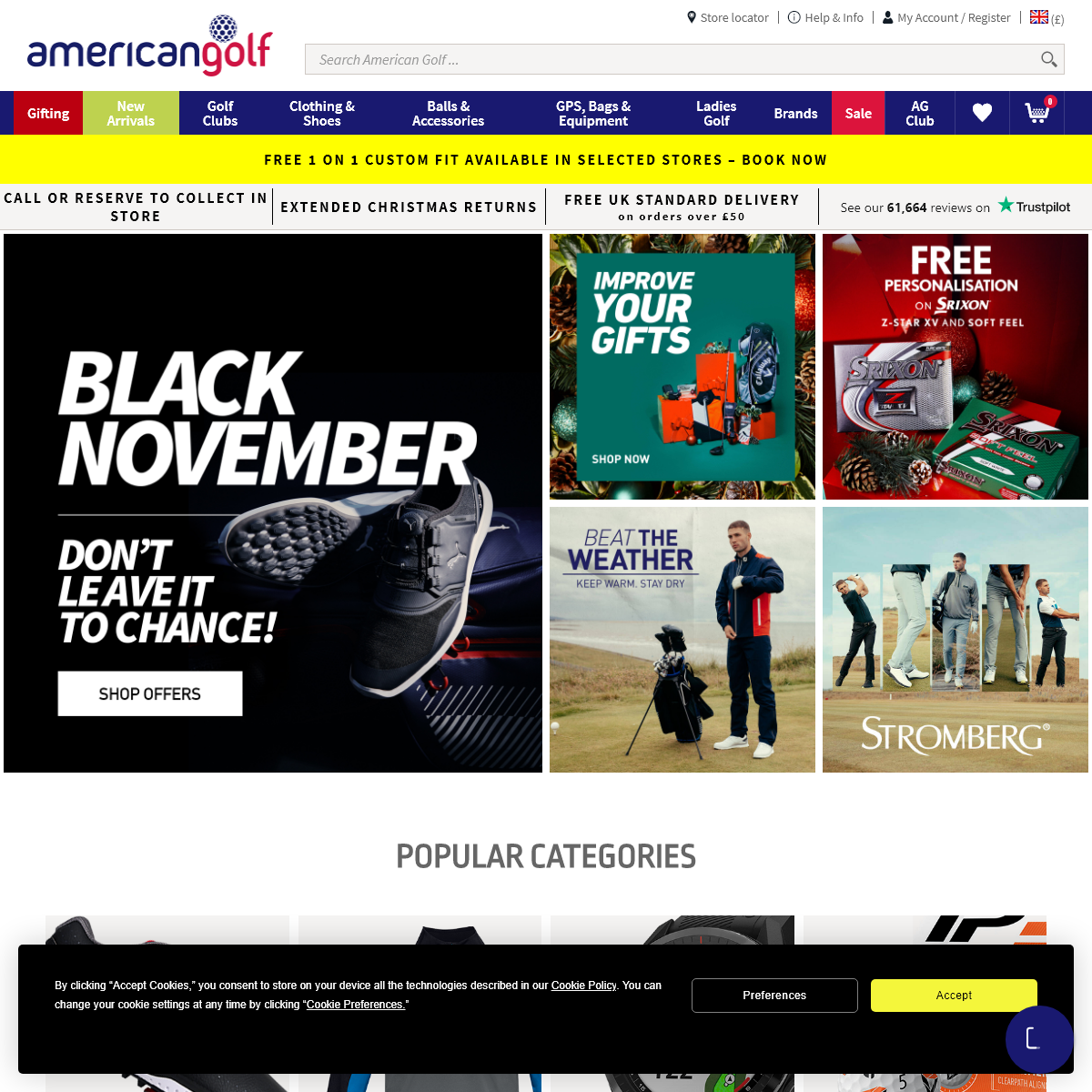 American Golf · Europe`s Largest Golf Retailer · Online & Instore