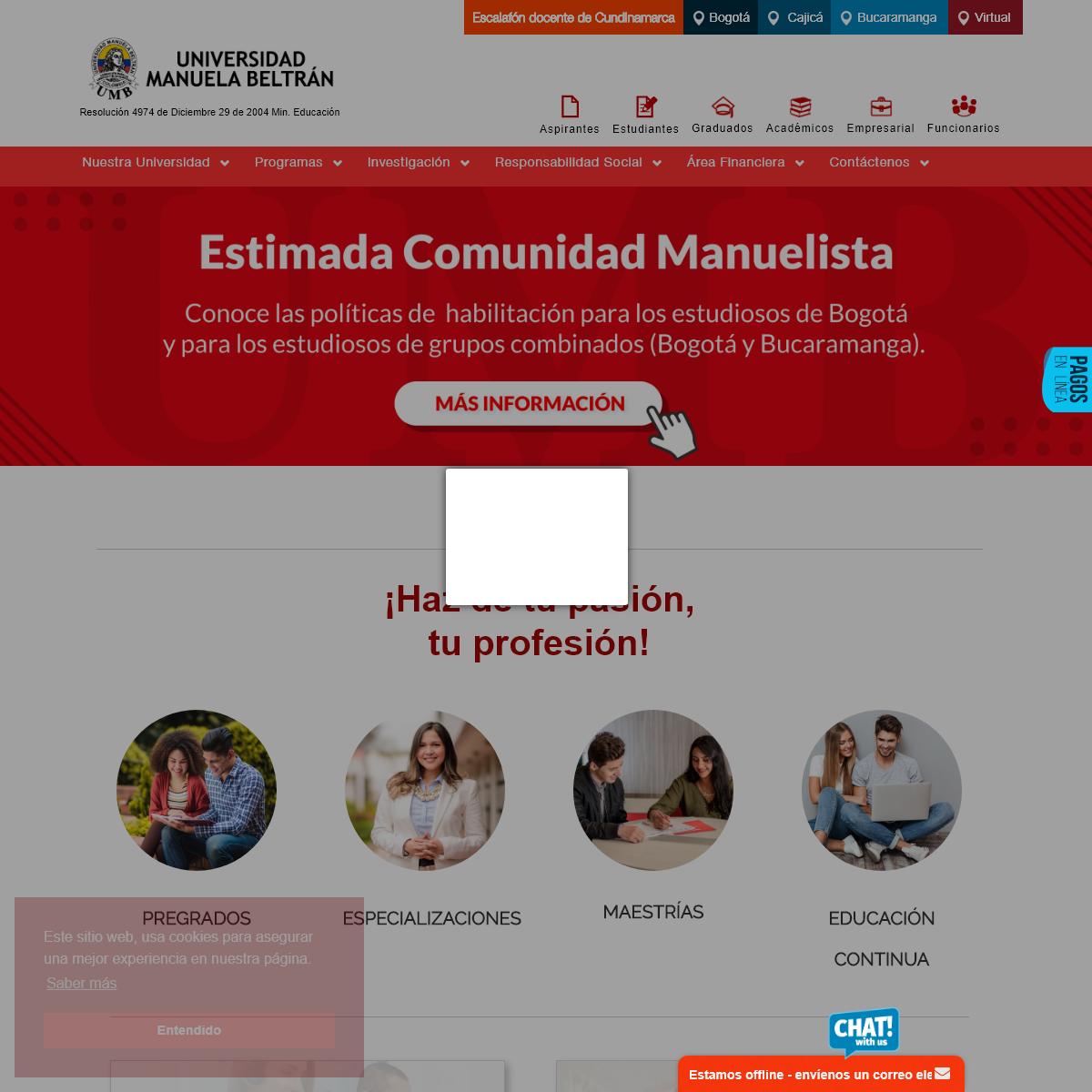 Carreras profesionales en Bogotá - Pregrados - Posgrados - Universidad Manuela Beltrán